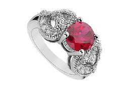 Created Ruby and Cubic Zirconia Ring 10K White Gold 2.55 Carat Total Gem Weight