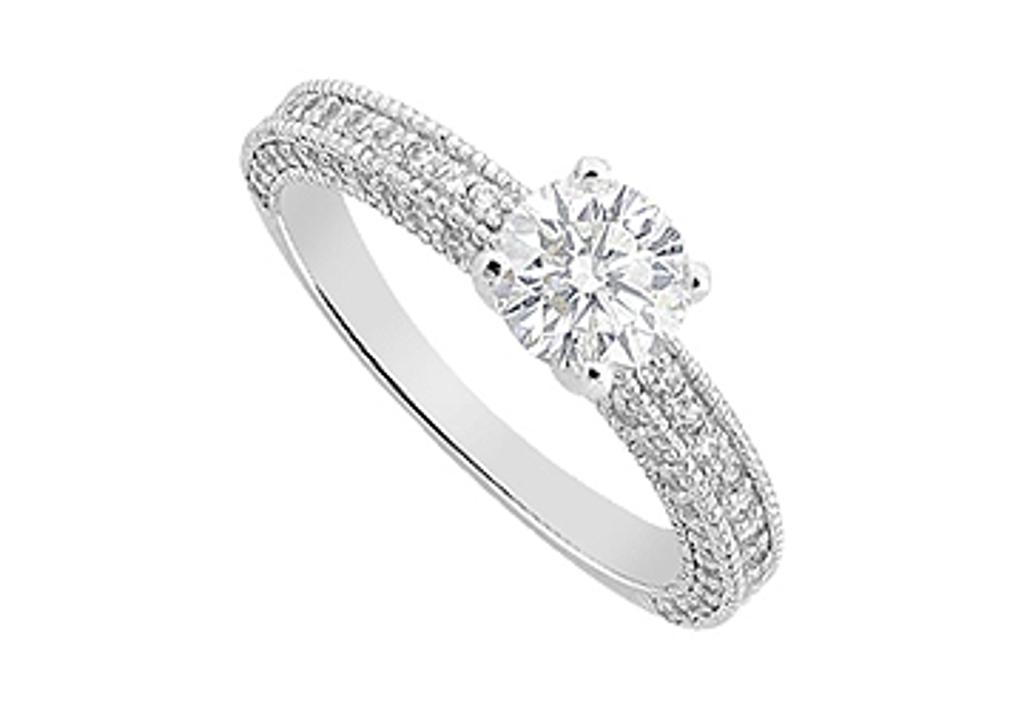 14K White Gold Engagement Ring of 1.50 Carat Triple AAA Quality CZ