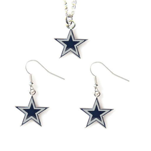 NFL Dallas Cowboys Sports Team Logo Necklace and Dangle Earring Charm Set