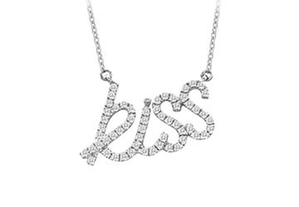 14K White Gold Diamonds Kiss Pendant Necklace 0.33 CT TDW