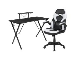 Offex Black Gaming Desk and White/Black Racing Chair Set with Cup Holder, Headphone Hook, and Monitor/Smartphone Stand