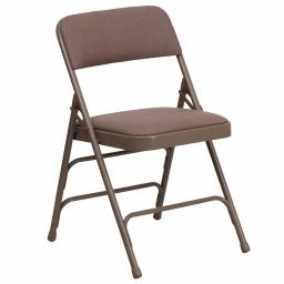 Offex Curved Triple Braced & Quad Hinged Beige Fabric Upholstered Metal Folding Chair