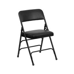 Offex Curved Triple Braced & Double Hinged Black Vinyl Metal Folding Chair