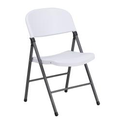 Offex 330 lb. Capacity Granite White Plastic Folding Chair with Charcoal Frame
