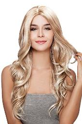 Kalyss Long Body Wavy curly Blond Wigs Ombre Blonde Premium Synthetic Wigs Heat Resistant Wigs for Women Natural Looking Middle Parting Hairline Fashion Looking Wigs