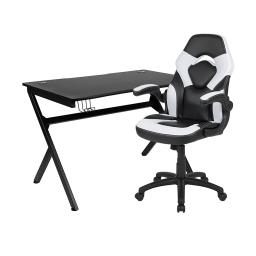 Offex Black Gaming Desk and White/Black Racing Chair Set with Cup Holder, Headphone Hook & 2 Wire Management Holes