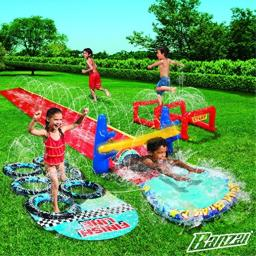 BANZAI Aqua Blast Obstacle Course Inflatible Obstacle Course