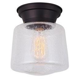 CANARM IFM623A08ORB LTD Mill 1 Light Flush Mount Oil Rubbed Bronze with Seeded Glass