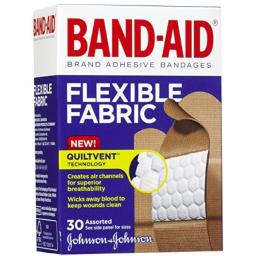 Band-Aid Brand Flexible Fabric Adhesive Bandages for Wound Care & First Aid, Assorted Sizes, 30 ct