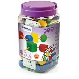 Miniland Giant Beads and Laces (100 Pieces and 10 Laces)