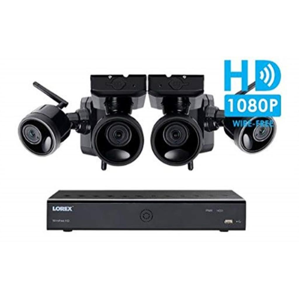 Lorex Wire Free Camera System 6 Channel DVR 4 Rechargeable Wire Free Cameras 95 Night Vision 2-Way Audio Speaker-Mic