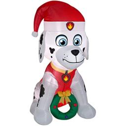 Gemmy Airblown Inflatable Paw Patrol Marshall w/Wreath 4.5 ft Tall Indoor/Outdoor Decoration