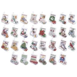 """Tiny Stocking Ornaments Counted Cross Stitch Kit 3.5"""" 14 Count Set Of 30"""