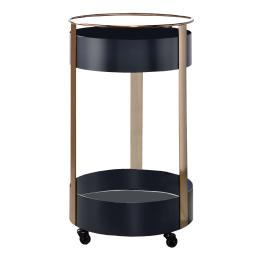 Round Metal Frame Serving Cart with Casters and Open Shelf, Black and Gold