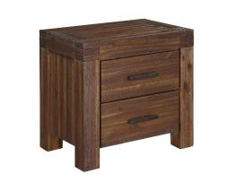 Wooden Nightstand with Exposed Mortise and Tenon Corner Joints, Brown