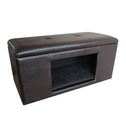 Leatherette Upholstered Wooden Pet Bench With Cutout For Easy Access, Brown