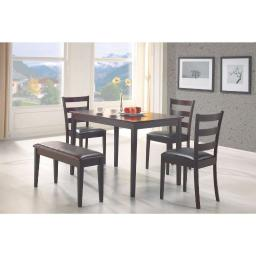 Sophisticated 5 Piece Dining Set with Bench, Brown