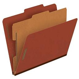 "Pendaflex Pressboard Classification File Folders, 1 Divider, 2"" Embedded Fasteners, 2/5 Tab Cut, Letter Size, Red, Box of 10 (1157R)"