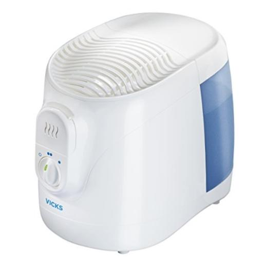 Vicks Filtered Cool Moisture Humidifier Filtered Humidifier for Bedrooms, Baby, Kids Rooms, Auto-Shut Off, 0.8 Gallon Tank for Medium Sized Rooms,... VICKS COOL MOISTURE HUMIDIFIER: The wide mouth of this 0.8 gallon tank in this cool moisture humidifier makes it easy to clean and fill, and the wicking filter removes impurities from water. Use Vicks Menthol VapoPads for an even more soothing experience*VICKS HUMIDIFIERS FOR KIDS, ADULTS: This humidifier helps add cool moisture into the air. Many women and men find that a humidifier for the bedroom becomes an essential part of a good night's sleep when the air is dry, in allergy season, or when sick*COUGH & CONGESTION RELIEF: When you or your kid has a cold, it can be difficult to sleep through the night. Humidifiers and vaporizers provide temporary relief from coughing and congestion, so your rest won't be as disturbed by coughing fits*VICKS VAPORIZERS, HUMIDIFIERS, & STEAM INHALERS: Steam & humidity offer temporary relief from cough & congestion due to colds or allergies. Vicks line of humidifiers & steam inhalers, help you breathe easier wherever you are, from the bedroom to office*HUMIDIFIERS FOR BEDROOMS, DESKS,TABLES: Our humidifiers & vaporizers help you breathe better wherever you are. Try a Vicks humidifier if you've found relief from vaporizer or humidifiers made by Vornado, Crane, Aircare, Sunbeam, Homedics, or Dyson