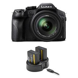 Panasonic LUMIX DMC-FZ300K, 4K Video, Splash & Dustproof Body, Leica DC Lens 24X F2.8 Zoom (Black) w/ 2 Extra Batteries and Dual Charger
