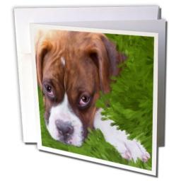 3dRose Boxer Puppy - Greeting Cards, 6 x 6 inches, set of 6 (gc_11978_1)