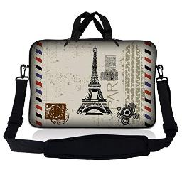 LSS 17 inch Laptop Sleeve Bag Carrying Case Pouch w/Handle & Adjustable Shoulder Strap for 17.4 17.3 17 16 Apple Macbook, GW, Acer, Asus, Dell, Hp, Sony, Toshiba, Paris Design