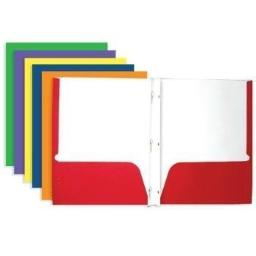 BAZIC 3145 Two-Pocket Portfolio with Three-Prong Fastener, 4 Pack (Colors May Vary)