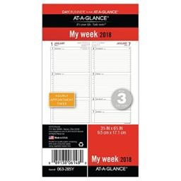"AT-A-GLANCE Day Runner Weekly Planner Refill, January 2018 - December 2018, 3-3/4"" x 6-3/4"", Loose Leaf, Size 3 (063-285Y)"
