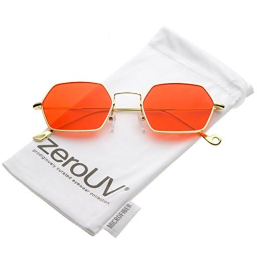 zeroUV - Small Metal Ultra Slim Arms Colored Flat Lens Hexagon Sunglasses 51mm (Gold/Red) Small Metal Hexagon Sunglasses*Hexagonal Colored Flat Lens*Ultra Slim Arms*Straight Nose Bridge*30 DAY MONEY BACK GUARANTEE AND 90 DAY LIMITED WARRANTY AGAINST MANUFACTURER DEFECTS