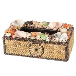 BeautifullyDecorated Plywood Tissue Box With Natural Seashells, Multicolor