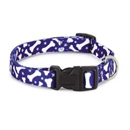 """Casual Canine Nylon Pooch Patterns Dog Collar, Fits Necks 6"""" to 10"""", Blue Bone"""