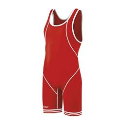 ASICS Men's Snap Down Wrestling Singlet (Red/White), X-Large