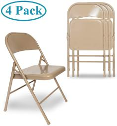 VECELO Folding Chair Triple Braced & Double Hinged Back with Metal Frame for Home Office, Beige
