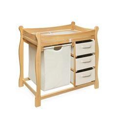Badger Basket Co Natural Sleigh Style Changing Table with Hamper/3 Baskets