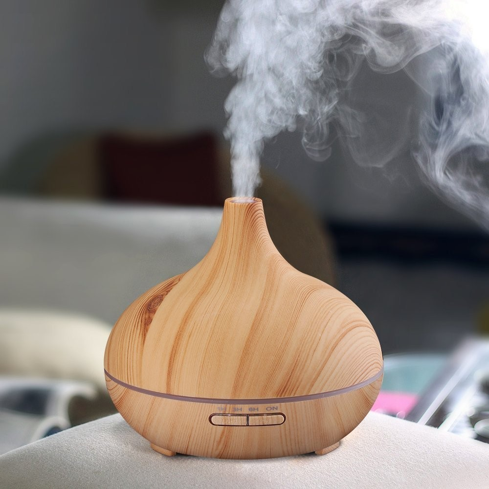 Lizatech 300 ml Aroma Diffuser Wood Humidifier with Color-Changing Mood Lighting