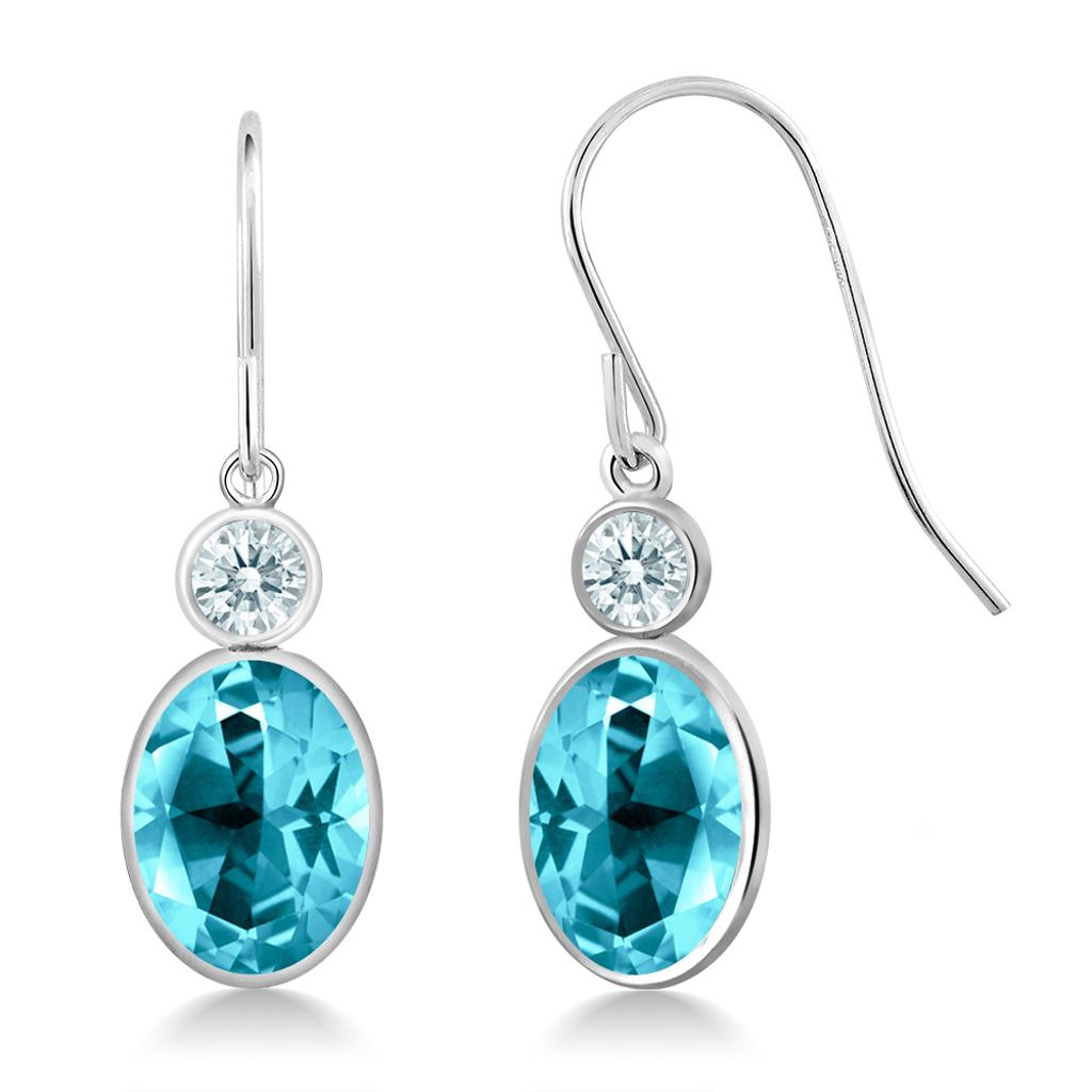 14K White Gold Earrings Set with Oval Paraiba Topaz from Swarovski