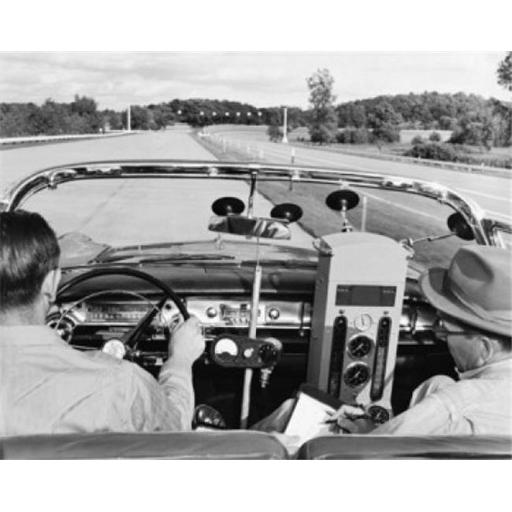 Posterazzi SAL2555554 Rear View of Two Men Driving a Vintage Car with Equipment to Measure the Fuel Consumption Poster Print - 18 x 24 in.