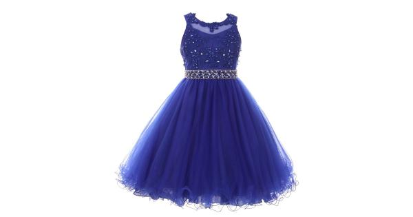 Big Girls Royal Blue Rhinestone Pearl Beaded Mesh Junior Bridesmaid Dress 8-16