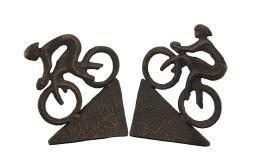 Racing Bicyclists Aged Bronze Finish Cast Iron Bookends Set of 2