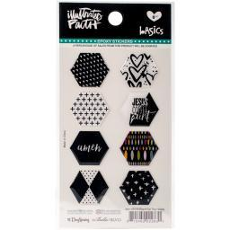 Illustrated Faith Basics Hexies Epoxy Stickers-Black Eyed Pea