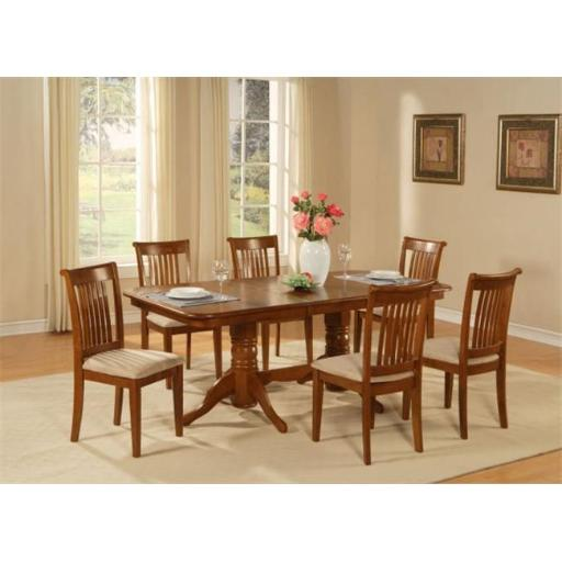 East West Furniture NAPO9-SBR-C 9 Piece Dining Room Table Set Table With A Leaf and 8 Chairs For Dining