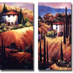 Artistic Home Gallery 1224693S Tuscan Hills & Golden Tuscany by O Toole Premium Stretched Canvas Wall Art Set - 2 Piece 1224693S