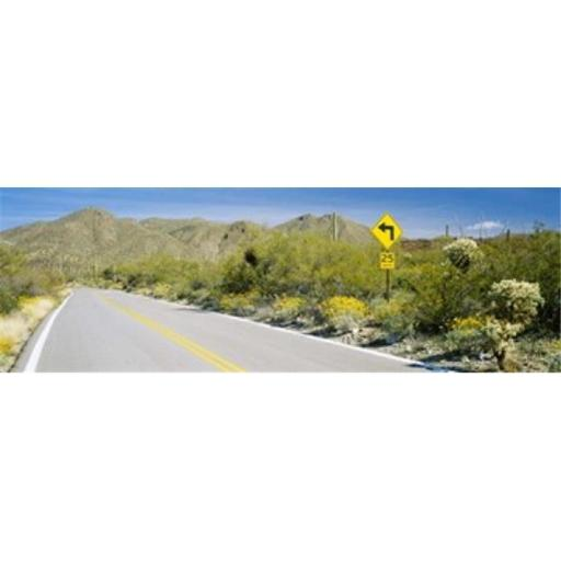 Directional signboard at the roadside McCain Loop Road Tucson Mountain Park Tucson Arizona USA Poster Print by - 36 x 12