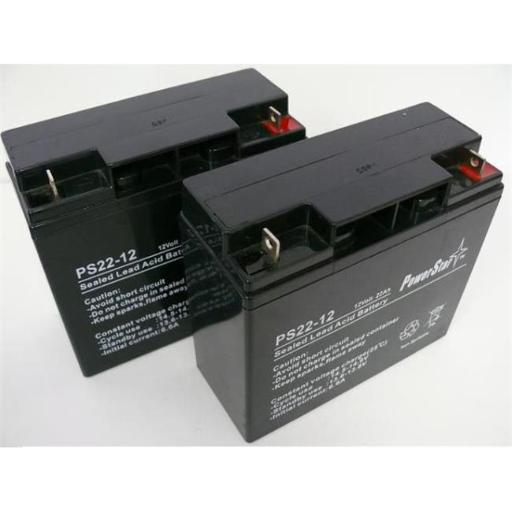 PowerStar PS12-22-QTY2-28 12V 22Ah Upgrade from 12V 18Ah Replacement Battery Kit for APC RBC7 UPS - Pack of 2