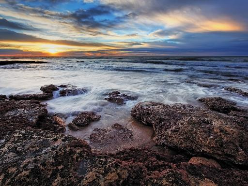 A seascape at sunrise from Miramar, Argentina Poster Print