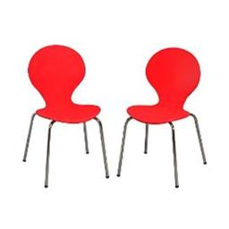 Giftmark 3013R Modern Childrens 2 Chair Set with Chrome Legs - Red