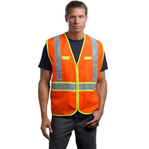 CSV407 Mens ANSI 107 Class 2 Dual-Color Safety Vest, Safety Orange & Safety Yellow - 2XL