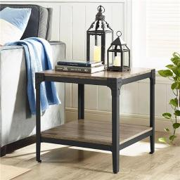 Walker Edison C20AISTAG Angle Iron Rustic Wood End Table - Driftwood, Set of 2
