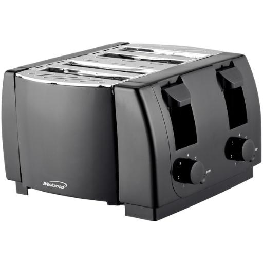 Brentwood appliances ts-285 cool touch 4-slice toaster (black) 1,300W.7-setting browning knobs .Crumb trays .Cancel buttons .Auto-centering guides .Cool-touch body.1-year manufacturer warranty .Includes instruction manual .Black.Cool Touch 4-Slice Toaster (Black)