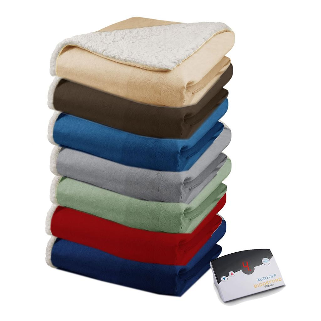 Biddeford Biddeford Soft Velour Sherpa Electric Heated Warming Blanket Digital Massgenie Com